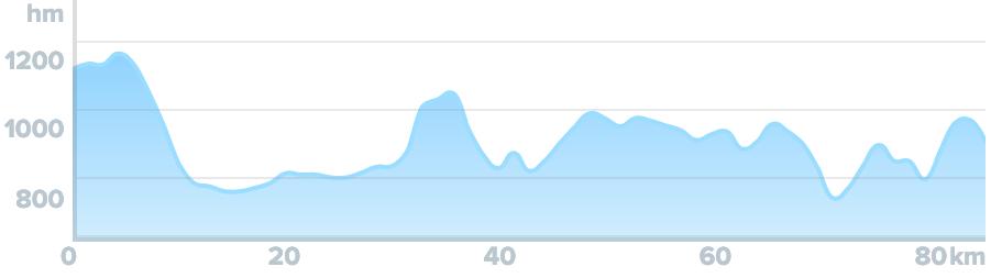 Wykres przewyższenia: 1 200 m